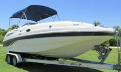 Clear Title in handHere is a very rare find! This is a beautifully maintained 2005 Chaparral 252 Sunesta deck boat with only 234 hours! This deck boat provides the best of both worlds with the space and stability of a pontoon boat and the speed and