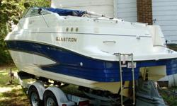 5.0L V8 Volvo engine with Volvo SX outdrive129 engine hours/had 100 hour service. Engine starts on first turn.Aft cabin sleeps 2, V-berth sleeps 2 Capacity-10 personsA/C (never used), Microwave (never used), Fridge, Alcohol/electric stove (never used),
