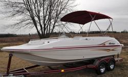 This is a 2005 Hurricane GS202 deck boat, with a 2006 Tennessee tandem trailer. This boat is 20 ft. and has an empty wht. of 3745 lbs. The engine is a 4.3 Mercury 190 hp. There is only 38.5 hrs. on it. The rear hatch is power. Some of the options