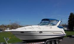 '?????VERY CLEAN 2005 MAXUM 2900 SE EXPRESS CRUISER AND TRAILER. THIS EXCEPTIONALLY CLEAN CRUISER IS POWERED WITH TWIN 220 HP FUEL-INJECTED MERCRUISER BRAVO STERN DRIVES WITH ONLY 385 HOURS OF WELL CARED FOR AND FULLY SERVICED USE . THE COMPLETE PACKAGE
