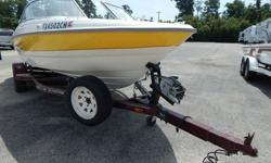 Clean Boat4.3 Liter MercruiserHumminbird 561 Sonar Fish FinderLength Overall 18' 0''Dry Weight 2,500 lbs.Beam 7' 6''Draft 3' 0'' (max)Fuel Cap 28 gal.Deadrise/Transom 17 deg.Single Axle EZ Loader Trailer with a Swing Away Tongue which gives the ability to