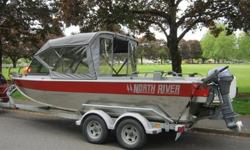 This North River Trapper is ready to fish!?Hamilton 212 Pump?Yamaha T8 4-stroke Kicker with Electric start and Power Tilt and Trim?Full Enclosure Top?Columbia River Anchor System?Lowrance 332c Fish/Depth Finder with GPS?Cockpit Heater?Windshield