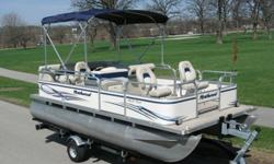 2005 Northwood 1823 Oasis Pontoon Boat. The boat is equipped with the upgraded 2005 Mercury Four Stroke Big Foot 25 hp engine. This boat comes with a trailer. This boat is in good to great condition. The boat comes with a complete bimini top and a snap on