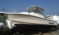 """2005 Pursuit 2870 Walkaround. This boat is a fishing machine. Very low 254 hrs. on the twin Yamaha 225hp 4 stroke outboards. This boat is extremely clean, FAST and fully loaded. Raymarine C-20 GPS chart plotter, Radar, Fishfinder with 12"""" screen. Hard top"""