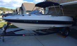 2005 Regal 1800 Bow Rider with Fastrac hull design that makes ride smoother and easy to handle! 4.3L Volvo Penta I/O with only 230 hrs. Great condition and stored in garage year round. Comes with a Bimini top and cover. Single axle trailer with