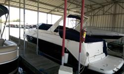 This 2005 Rinker 270 Fiesta has a VolvoPenta 8.1 Litre engine with Kohler generator, electric hatch. It has a full galley with refrigerator, microwave, stove and sink, bathroom with sink and shower, seating area for 6, two sleeping areas, tv, stereo