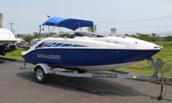 THIS 20FT SEA-DOO IS POWERED WITH THE UPGRADED POWER, TWIN 185HP (155HP IS STANDARD) SUPERCHARGED, ROTAX 4-TEC, 4 STROKE JET DRIVE FUEL INJECTED MOTORS. THIS COMPLETE PACKAGE INCLUDES A KARAVAN SINGLE AXLE TRAILER. THERE'S LOT'S OF FUN TO BE HAD WITH THIS