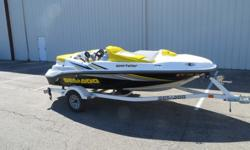 """EXCELLENT CONDITIONBEAUTIFUL 2005 15' SEA DOO SPORTSTER 4 TECH. FULL INSTRUMENTATION DASH, BIMINI TOP PADDED BOISTERED SEATING, REAR STORAGE, 7.1 BEAM, 12"""" DRAFT, 1450 LBS, 215 HP, SUN DECK, TRAILER, STAINLESS STEEL CLEATS, MOORING COVER, NO SKID DECK, 2"""