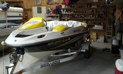 Like New 2005 Supercharged and Intercooled Jet Boat, 215hp upgraded to 275hp.This boat will do 65 mph - 70 mph!!Yellow, white and black in color. Built-in ski locker, ice chest, storage, retractable ski pylon and boarding ladder.Upgrades include: Built-in