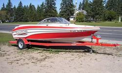 2005 Tahoe Q4 ski/wakeboard boat in exellent condition. Boat has very low hours second owner. Comes with a storage cover. Matching 2006 trailer. V6 190hp MerCruiser inboard motor. 20 gallon gas tank. Storage compartment inbetween driver and passenger