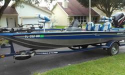 THIS IS AN EXCEPTIONAL BASS BOAT! LOW HOURS AND GREAT CONDITION. ALWAYS KEPT UNDER COVER. SEATS ALMOST LIKE NEW. HAS BIMINI TOP THAT FOLDS DOWN WHEN NOT IN USE. BIG TROLLING MOTOR BATTERY REPLACED A FEW MONTHS AGO AND NEWER CRANKING BATTERY. SHIP TO SHORE