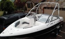 This twin jet engine 23' boat goes up to 60mph and maneuvers like no other! Looks great and has loads of room for up to 10 people legally but when parked you have way more room for freinds and entertaining when docking with other boats. This boat is not