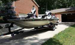 I have a very nice 2006 Bass Tracker Pro Team 170TX Aluminum Fishing boat for sale. It has the Revolution hull with welded seams for a smooth ride and no leaks. The boat has a 50HP Mercury outboard which starts and runs great and a Motor Guide 46lb thrust