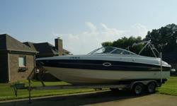 ,,,,,,,,,,Engine is 3 years old (jasper 5.7L),HOURS:59, trailer is very nice with hydraulic brakes. No hull damage, boat is in great shape runs fantastic. New Bimini has been ordered from bayliner and new captains chair. Has GPS, depth finder, New CD