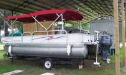 AND ONE IN THE BACK) DEPTH FINDER AND 3 DEEP CYCLE BATTERIES AND ONE STARTER BATTERY PLUS A LOT MORE!! THE BOAT HAS A FULL CUSTOM MADE COVER (IN CLOSED FOR CAMPING AND OVERNIGHT USE) EASY TO PUT UP AND TAKE DOWN, CAN BE DONE ON LAND OR WHILE IN THE WATER