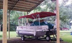25' Crest Pontoon floating living room...in great condition, low hours (around 240), located on Lake Hartwell, GA. This boat has two full size luxury couches, reclining/swivel captains chairs, and plenty of seating and fun for up to 14+ comfortably. This