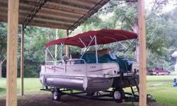 A nice pontoon with a stern drive engine! This 25 foot boat has lots of room and some nice features. It is in great condition and runs well! It comes with a 135 hp Mercruiser engine and an Alpha drive as well as a tandem axle trailer with brakes. It also