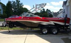 Beautifully maintained boat, Great price - Designed for hydrofoil, awesome for all water sports. Only 450 hours, engine meticulously maintained by WakeFalls Mobile Marine and winter stored in a cool and dry warehouse.Stainless Titan TowerBimini Cover for