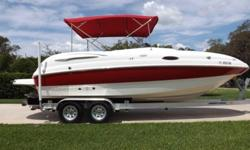 ,,,,,,2006 Chaparral Sunesta 232 Open Bow Deck Boat.Brilliantly outfitted with a 280 Horsepower Volvo Penta 5.0 Gxi motor with Volvo Penta Duoprop Drive. She has only 153 hours of total use.Certainly to make the whole family happy, whether island hopping,