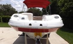 Dual Prop, very clean, nice matching trailer w spare, tano covers, large bimini, anchor, stereo and more. This boat was serviced in May and has very low hours, 91.8. It was run this week and checked out by the Only 210 hours on this affordable deck boat.