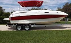 I put everything on the boat and nothing is on the deck, removable carpets, just all around beautiful deck boat. It has plenty of power with a GM 350 5.7 engine, volvo penta dual prop out drive. It has a 60 gallon fuel tank, you can go a whole weekend