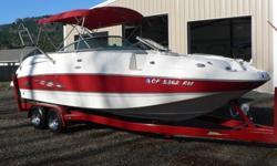 High end quality in this 26 FT performance open bow boat that has it all. Wake board tower with lights. Loaded with options! Just over 210 hours. You can see why these Chaparral deck boats are in demand. 254 Sunseta Model has one of the best floor plans