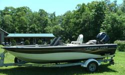 This is a very nice boat I bought about 3 years ago it had only 73 hrs on the motor when I bought it and I only used it 3 times so I know it has less than 100 hrs on it. It runs and works very good. I just put 3 new battires in the boat. it has an I-polit
