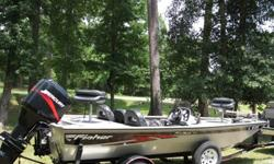 """2006 Fisher Pro Hawk 180 Bass BoatThis boat is in great condition. 115 HP Mercury 2 stroke Outboard Motor. Lowrance fish finder. 24Volt Minn Kota Edge 70Ib Thrust 45"""" Shaft Trolling motor.Boat has low hours and runs great.Has a few scratches on sides from"""