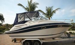 300 HP Mercruiser 350 MAG MPI with only 126 original hours Built in freshwater flush system for engine Bravo III Outdrive Stainless props Full Camper Canvas Package Double Bimini top with stainless frame Cockpit cover Bow Sun Pad Anchor and rode Shore