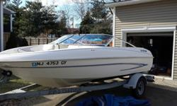 It has the very rare 4.3 V6, most boats of this size will only have the 3.0 4cyl......this means she is a lot of fun at 55 mph at WOT!! This is one of the better handling boats of this size mainly due to its beam as well as it inner fiberglass liner. That