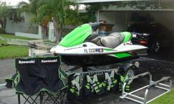 2006 Kawasaki Team Green STX-15F Ninja Engine Jetski. One owner extremely low hours (27 hours total time), Pompano Beach FL. 4 stroke engine. Garage / lift kept ski in pristine condition. Three person jet ski. Ready to ride with every possible accessory