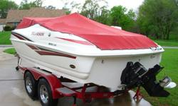 It has low hours and is all in very good condition. It runs great with no problems. tilt steering wheel, snap in carpet, nice stereo with cd player/mp3 plug, fish finder, stainless prop, 2 big bumpers, 4 ropes, big anchor with rope, and 2 life vests. It