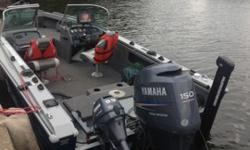 Has a 150hp outboard with an 9.9 kicker. The boat will include an 1198 hummingbird sonar and a 1158 hummingbird sonar. The boat will come with hummingbird 360 images. Storage in the boat is all around the boat. The trolling motor is an minn kota terror 80