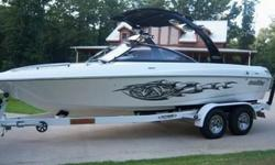 You are looking at a 2006 Malibu Wakesetter with 136 hours. Like new condition. Dry storage. Fresh water only. This boat includes illusion tower with 4 bullet speakers, bimini top and removable wakeboard racks. Upgraded stereo system with 8 polk speakers