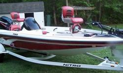 You are looking at a 2006 Nitro 750SC Bass Boat. The boat is in excellent condition. The Mercury 90HP motor has less than 60 hours on it. The boat is very clean as you can see and it comes with lots of extras such as custom fit boat cover, fish/depth