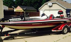 225 HP Evinrude E-tec. Includes two 3 blade SS props, 5 blade SS prop, hotfoot, blinker style trim, hydraulic jackplate, new MK Fortrex 112#, Humminbird 987C, 858C, all new batteries, 4 bank charger, Ranger cover, motor cover, Hamby's. Boat is stored in