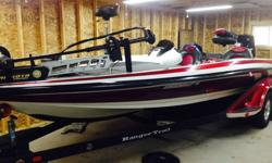 2006 225 HP Evinrude E-tec. Includes two 3 blade SS props, 5 blade SS prop, hotfoot, blinker style trim, hydraulic jackplate, new MK Fortrex 112#, Humminbird 987C, 858C, all new batteries, 4 bank charger, Ranger cover, motor cover, Hamby's. Boat is stored