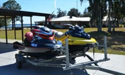 Up for auction is a pair of Sea-Doos and trailer. The red Sea-Doo is a 2006 Model RXP. This has a Rotax 1494 engine and is 215 HP jet drive. The length is 10 ft 1 inch, the width is 4 ft. Weight is 790 lbs. This seats 2 people. The yellow 2004 Sea-Doo has
