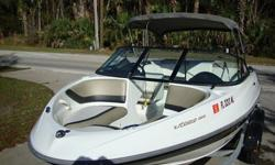 Features:* FULL INSTRUMENTATION* BOSS AM/FM/CD PLAYER* NICE UPHOLSTERY W/ SUNBED & SWIVEL CAPTAIN/PASSENGER SEAT* BIMINI- NO STORAGE BOOT* FLOOR LIGHTS* BATTERY SWITCHES* REAR BOARDING LADDER* SKI TOW RING* INTEGRATED SWIM PLATFORM* SKI STORAGE ON