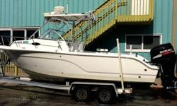 BOAT IS IN EXCELLENT CONDITION. SET UP FOR TROLLING WITH THE FOLLOWING EQUIPMENT OUTRIGGERS, AUTO PILOT, E80, GPS, FISHFINDER, RADAR, VHF ALL RAYMARINE & INTERFACE ALSO AN ELECTRIC WINDLESS, REMOTE SPOT/FLOODLIGHT,HAILER, 2 BATTERIES WITH GUESS SWITCH,