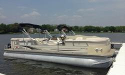 used in their construction. All the lounge seats on board have composite roto-formed bases covered with high-durability vinyl exterior fabrics. A plastic liner is used in the storage bins beneath the seats.The Party Barge also has a built-in entertainment