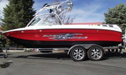 This 2006 Super Air Nautique 220 is nicely loaded with all the core features for a great day on the water. Tower, swivel racks, bimini, tower speakers, cruise control, ballast, theater seating, sundeck cargo net, heater, snap on covers and more. All this