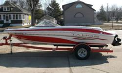 """18'7"""" in length. This boat is in pristine condition. It has the 135 hp mercruiser engine. Upholstry and carpeting is in super condition. Also has AM/FM/CD stereo, bimini top and fitted cover. Trailer and trailer tires are like new. This boat has had very"""