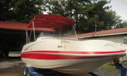 ...///2006 Tahoe 222 Deckboat with Mercruiser 5.0L 220 hp I/O and TrailerTandem with breaksWe sold new, runs greatFreshwater OnlyAlpha one Outdrive8 foot beam12 person capacityFuel capacity 48 gallonsHas bimini topUpholstery in good condition Exterior