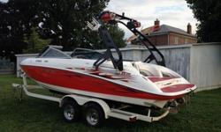 2006 Yamaha 230SX 23' High Output Jet boat with trailer.As you can see this is not your normal 230SX as we have added TONS of extras. The Aerial Waketower with racks was added and folds down to put in your garage if needed, as well as a HUGE stereo system