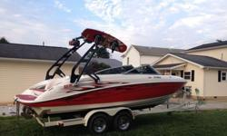 """The Aerial Waketower with racks was added ($2,500) and folds down to put in your garage if needed, as well as a HUGE stereo system with 4 subs (2-10"""", 2-12"""") and 6 tower speakers and 2 large Amps(Kicker, JL Audio). Auxilliary cord for plugging in your"""
