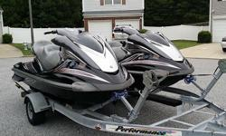 Jet skis in good condition, They only have 161 hours but may have a bit more because.The skis are completely stock with no modifications ever done. They are 3 seater skis and are able to pull a skier with no problem.Send your phone and I will call you.