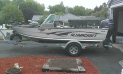 Boat in Excellent Condition with many extras. Full canvas package, fishfinder, GPS, Minn Kota trolling motor, extra trailer tire, anchor, extra prop, live well all included. Low Hours on whisper quiet four stroke. This boat was always winterized and