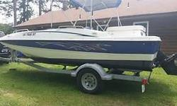 2007 BAYLINER 197 DECK BOAT WITH MERCRUISER 3.0 4 CYLINDER low hours on motor, seats 10, has 2 bimini tops, brand new cover, new trailer, new graphics .. old ones were fine just didn't like them! boat has been in fresh water almost all it's life and been