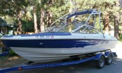 2007 BAYLINER BOW RIDER ,SKI TOWER AND LARGE SWIM DECK, LOW HOURS ON THIS BOAT ONLY 54 HOURS ..ALWAYS WINTERIZED AND KEPT IN AIRPLANE HANGER .COMES WITH TRAILER DUAL AXLE..DOWN HILL SELF BRAKING...COMES WITH BUMPERS ,SET OF SKIS,THIS BOAT IS A WALK